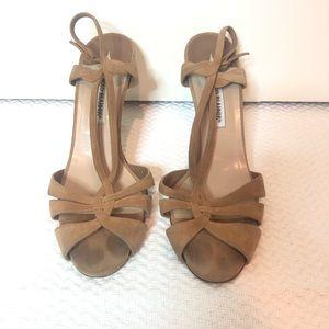 Manolo Blahnik Camel Suede Sandal Heels Size 10.5